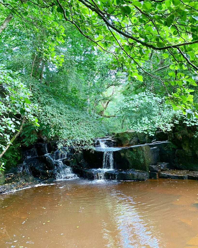 Hareshaw Burn running down from Hareshaw Linn Waterfall North Tyne river.