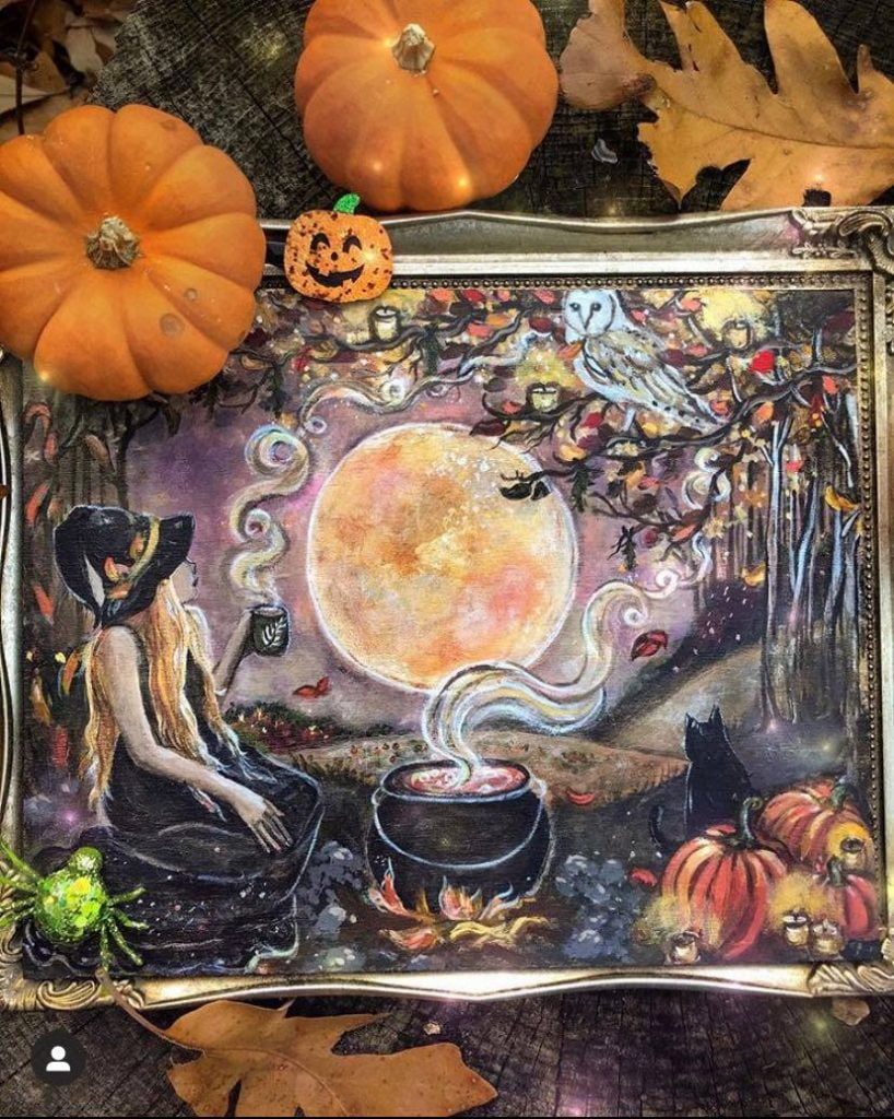 Witch, getting ready for Samhain celebrations and traditions