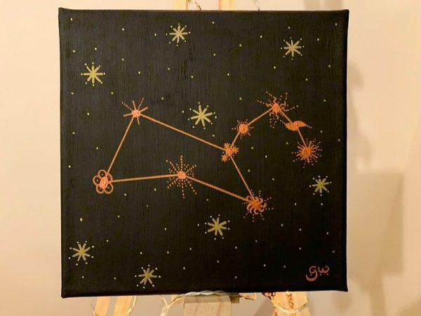 Leo Constellation - gold on black 20cmx20cm