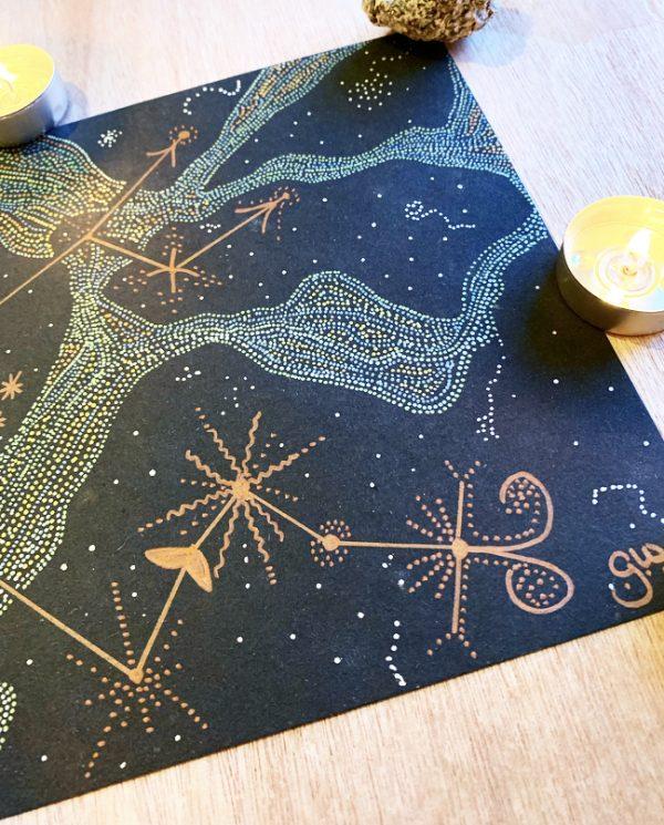 Aquarius Constellation Metallic Art