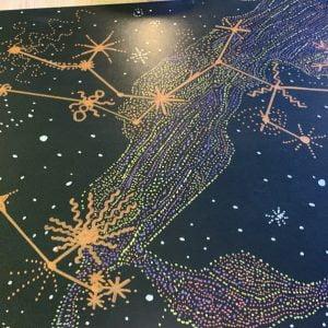 Aquarius Constellation Metallic Drawing