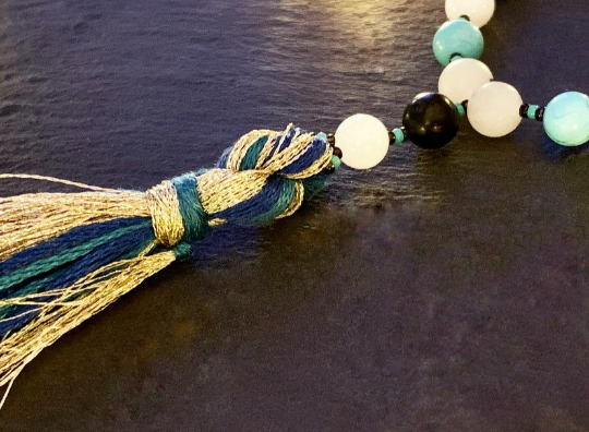 Mala for Transformation, Wisdom and Change with Serpentine, Turquoise, White Jade & Blue Aventurine. Crown Chakra Healing and Balancing.