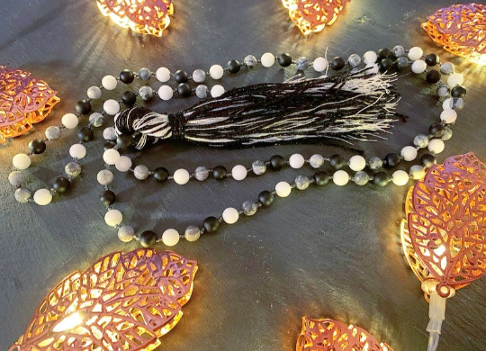 Mala to ease Depression, Soothe Anxiety and promote Self Confidence made with Grey Scenery Jasper, Bright White Jade Frosted Black Agate.