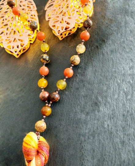 Protection against psychic & emotional attack Mala - Sacral Chakra balance - healing - Red Aventurine, Tiger Jasper, Crackle Fire Agate