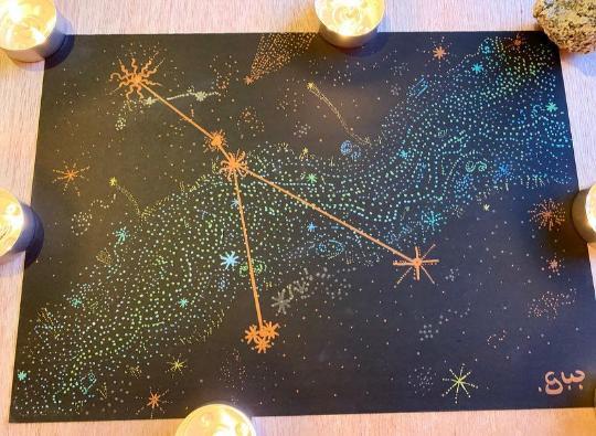 Cancer Constellation Metallic Art